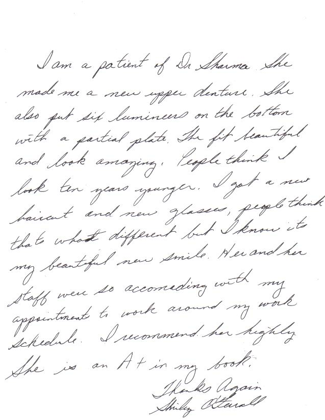 Picture of a handwritten review